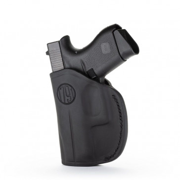 2-WAY IWB LEATHER HOLSTER - STEALTH BLACK - LEFT HAND - GLK 42/43, KEL 380, RUG LCP, SIG P365, S&W BODYGUARD, MOST 380S