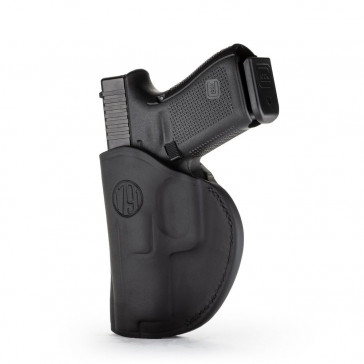 2-WAY IWB LEATHER HOLSTER - STEALTH BLACK - LEFT HAND - CZ CZ75, GLK 26/27/28, H&K 40, S&W SHIELD, SPR XDS, WAL PPS, RUG SR9 SUB