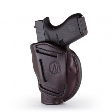 "4-WAY CONCEALMENT & BELT LEATHER IWB & OWB HOLSTER - SIGNATURE BROWN - RIGHT HAND - BRN HP, COLT 1911 3""/4"", KIM 1911 3""/4"", SIG 1911 3""/4"""