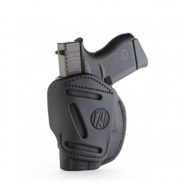 4-WAY CONCEALMENT & BELT LEATHER IWB & OWB HOLSTER - STEALTH BLACK - RIGHT HAND - GLOCK 42/43, KELTEC 380, RUGER LCP, SIG P365, SW BODYGUARD, MOST .380S
