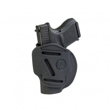 4-WAY CONCEALMENT & BELT LEATHER IWB & OWB HOLSTER - STEALTH BLACK - LEFT HAND - GLOCK 25/26/27, RUGER SR9C, S&W MP9, SPR XDS, WAL PPS