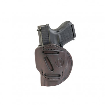4-WAY CONCEALMENT & BELT LEATHER IWB & OWB HOLSTER - SIGNATURE BROWN - RIGHT HAND - GLOCK 25/26/27, RUGER SR9C, S&W MP9, SPR XDS, WAL PPS
