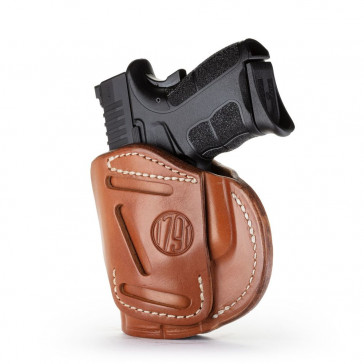 4-WAY CONCEALMENT & BELT LEATHER IWB & OWB HOLSTER - CLASSIC BROWN - RIGHT HAND - CZ CZ75, GLK 26/27/28, HK 40, SW SHIELD, SPR XDS/XDE