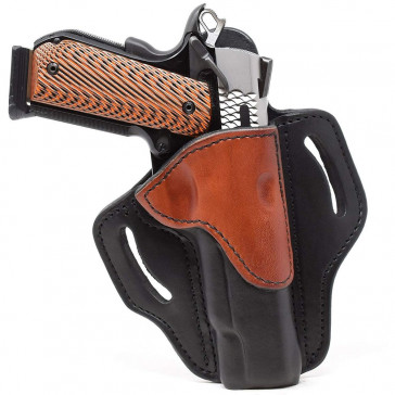 "OPEN TOP MULTI-FIT BELT HOLSTER - BROWN ON BLACK - RIGHT HAND - BROWNING HP, 4"" AND 5"" 1911S W/OUT RAILS"