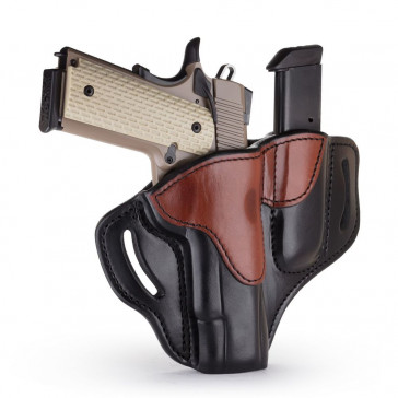"OPEN TOP MULTI-FIT BELT HOLSTER AND BUILT-IN MAG POUCH - BROWN ON BLACK - RIGHT HAND - BRN HP, COLT 1911 5"", KIM 1911 5"", SIG 1911 5"" W/RAIL"