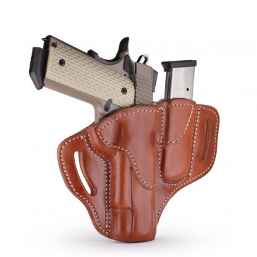"OPEN TOP MULTI-FIT BELT HOLSTER AND BUILT-IN MAG POUCH - CLASSIC BROWN - RIGHT HAND - BRN HP, COLT 1911 5"", KIM 1911 5"", SIG 1911 5"" W/RAIL"