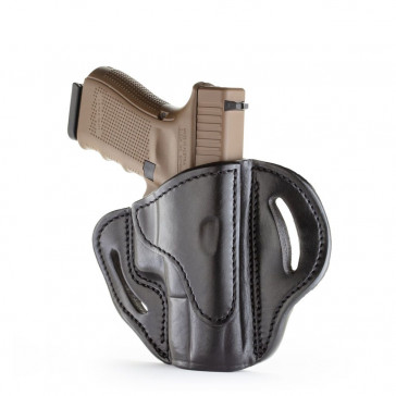 OPEN TOP MULTI-FIT BELT HOLSTER - BLACK - RIGHT HAND - BER 92C, CZ P10C, GLK 17/19/22, H&K 40C, RUG SR9, SIG P225, S&W P225