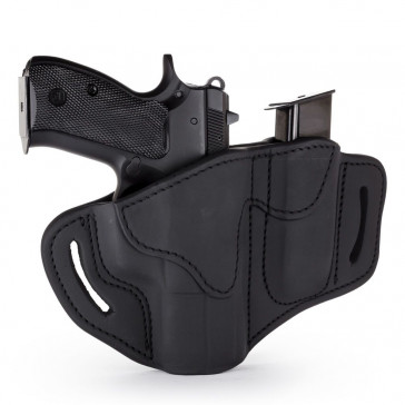 OPEN TOP MULTI-FIT BELT HOLSTER AND BUILT-IN MAG POUCH - BLACK LEATHER - LEFT HAND - GLOCK 19/23/25, H&K 40C, RUG SR9, S&W MP9, MP40, WAL P99