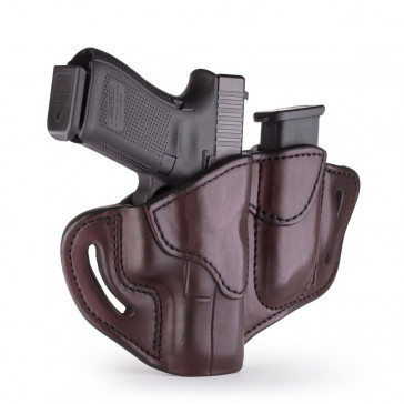 OPEN TOP MULTI-FIT BELT HOLSTER AND BUILT-IN MAG POUCH - SIGNATURE BROWN - RIGHT HAND - GLOCK 19/23/25, H&K 40C, RUG SR9, S&W MP9, MP40, WAL P99