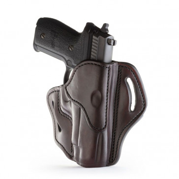 OPEN TOP MULTI-FIT BELT HOLSTER - SIGNATURE BROWN - RIGHT HAND - BER 92FS, GLK 17/20/21, H&K 45, RUG P95, SIG P220, WAL P99