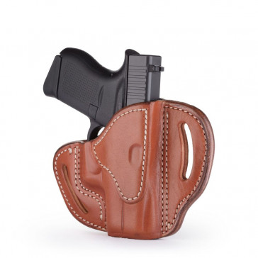 OPEN TOP MULTI-FIT BELT HOLSTER - CLASSIC BROWN - RIGHT HAND - BERSA THUNDER 380, GLOCK 42/43, KIM MICRO9, RUG LC9, SIG P365
