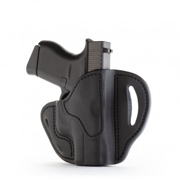 OPEN TOP MULTI-FIT BELT HOLSTER - STEALTH BLACK - RIGHT HAND - BERSA THUNDER 380, GLOCK 42/43, KIM MICRO9, RUG LC9, SIG P365