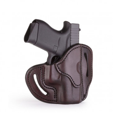 OPEN TOP MULTI-FIT BELT HOLSTER - SIGNATURE BROWN - RIGHT HAND - BERSA THUNDER 380, GLOCK 42/43, KIM MICRO9, RUG LC9, SIG P365