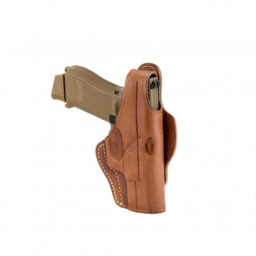 DUAL-POSITION OWB THUMB BREAK BELT HOLSTER - CLASSIC BROWN - RIGHT HAND - GLOCK 19/23/25/27/28, RUGER SR9C, SIG P228/229, S&W MP40/MP40C/MP9