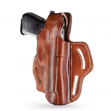 DUAL-POSITION OWB THUMB BREAK BELT HOLSTER - CLASSIC BROWN - RIGHT HAND - BER 92F, CZ 75B, SP-01, S&W 5609, SIG P228/P229