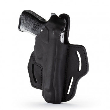 DUAL-POSITION OWB THUMB BREAK BELT HOLSTER - STEALTH BLACK - RIGHT HAND - BER 92F, CZ 75B, SP-01, S&W 5609, SIG P228/P229
