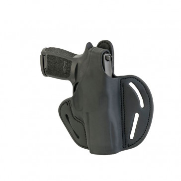 DUAL-POSITION OWB THUMB BREAK BELT HOLSTER - STEALTH BLACK - LEFT HAND - H&K P2000, 45C, SIG P229/P320C, M11A1, SPR XDMC