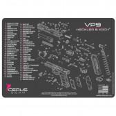H&K VP9 SCHEMATIC HANDGUN PROMAT - CHARCOAL GRAY/PINK