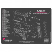 SMITH & WESSON M&P SCHEMATIC HANDGUN PROMAT - CHARCOAL GRAY/PINK