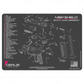 M&P SHIELD SCHEMATIC PROMAT - CHARCOAL GRAY/PINK