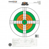 SCOREKEEPER TARGETS - FLUORESCENT ORANGE & GREEN BULL - 25 YD. PISTOL SLOWFIRE (12 PACK)