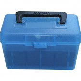 DELUXE H-50 SERIES SMALL RIFLE AMMO BOX - 50 ROUND - CLEAR BLUE