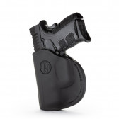 2-WAY IWB LEATHER HOLSTER - STEALTH BLACK - RIGHT HAND - CZ CZ75, GLK 26/27/28, H&K 40, S&W SHIELD, SPR XDS, WAL PPS, RUG SR9 SUB