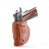 "4-WAY CONCEALMENT & BELT LEATHER IWB & OWB HOLSTER - CLASSIC BROWN - RIGHT HAND - BRN HP, COLT 1911 3""/4"", KIM 1911 3""/4"", SIG 1911 3""/4"""