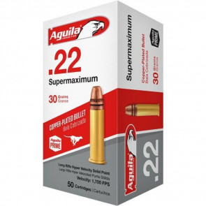 22 SUPERMAXIMUM LR AMMUNITION 30GR LR HYPER VELOCITY COPPER PLATED SOLID POINT - 50 ROUNDS