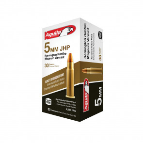 5MM REMINGTON RIMFIRE MAGNUM AMMUNITION 40GR JACKETED HOLLOW POINT - 50 ROUNDS