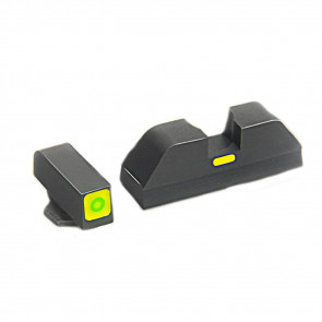 CAP SIGHT SET - GREEN TRITIUM LAMP, SQUARE OUTLINE FRONT AND PAINTED BAR REAR, GLOCK