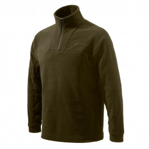 HALF ZIP FLEECE SWEATER - CHOCOLATE - MEDIUM
