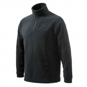 HALF ZIP FLEECE SWEATER - BLACK - X-LARGE