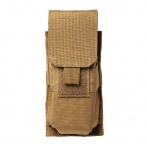 M4/M16 SINGLE MAG POUCH (HOLDS 2) - MOLLE, COYOTE TAN