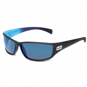 PYTHON SPORT SUNGLASSES, BLACK/BLUE MATTE FRAME, POLARIZED GB-10 GREY LENS WITH METALLIC BLUE MIRROR