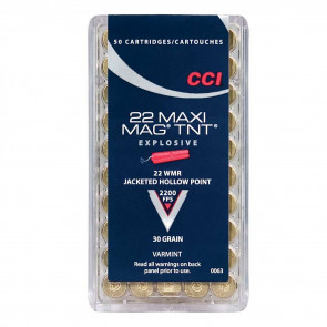 MAXI-MAG TNT RIMFIRE VARMINT AMMUNITION - 22 WIN MAG, TNT JACKETED HP, 30 GRAIN