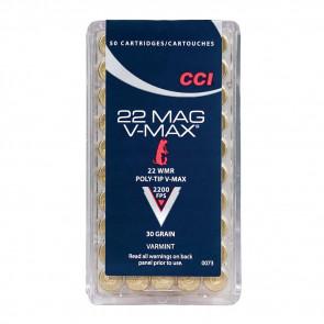 V-MAX RIMFIRE VARMINT AMMUNITION - 22 WIN MAG, POLY-TIP V-MAX, 30 GRAIN