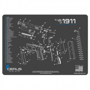 1911 SCHEMATIC HANDGUN PROMAT -  CHARCOAL GRAY-CERUS BLUE