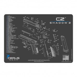 CZ SHADOW 2 SCHEMATIC HANDGUN PROMAT - CHARCOAL GRAY/CERUS BLUE