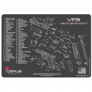 H&K VP9 SCHEMATIC HANDGUN PROMAT - CHARCOAL GRAY/PINK