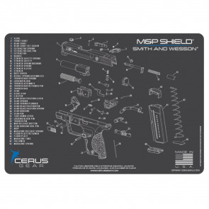 M&P SHIELD SCHEMATIC PROMAT - CHARCOAL GRAY/CERUS BLUE