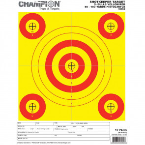 SHOTKEEPER TARGETS - YELLOW/RED 5-BULL SMALL (12 PACK)