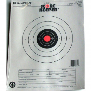 SCOREKEEPER TARGETS - FLUORESCENT ORANGE BULL - 50 FT. PISTOL SLOWFIRE (12 PACK)