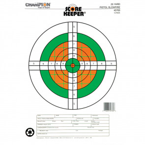 SCOREKEEPER TARGETS - FLUORESCENT ORANGE & GREEN BULL - 25 YD. PISTOL SLOWFIRE (12 PACK)