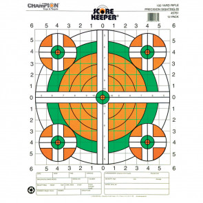 SCOREKEEPER TARGETS - FLUORESCENT ORANGE & GREEN BULL - 100 YD. RIFLE SIGHT-IN (12 PACK)
