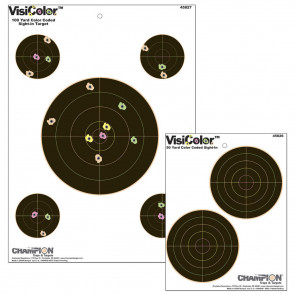 "VISICOLOR HIGH-VISIBILITY PAPER TARGETS - DOUBLE 5"" BULLS"