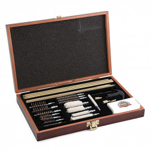 GUNMASTER DELUXE UNIVERSAL 35 PIECE CLEANING KIT IN WOODEN BOX