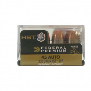 PREMIUM PERSONAL DEFENSE, 45 AUTO AMMUNITION, 230 GRAINS, HST, 20 ROUNDS/BOX