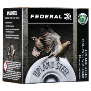 "UPLAND STEEL SHOTSHELLS - 20 GAUGE, 2 3/4"", 3/4 OZ, 6 SHOT, 25/BX"