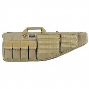 "TACTICAL AR CASE WITH EXTERNAL HANDGUN CASE, 35"", SOFT, TAN"